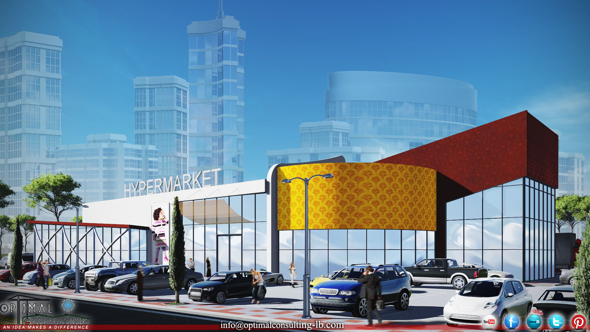 Exterior architecture concept design for a hypermarket in beirut, lebanon.