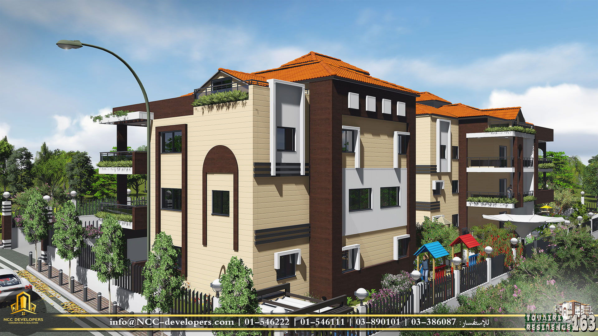 Architecture, engineering & rendering for Touairi Residential building 163.