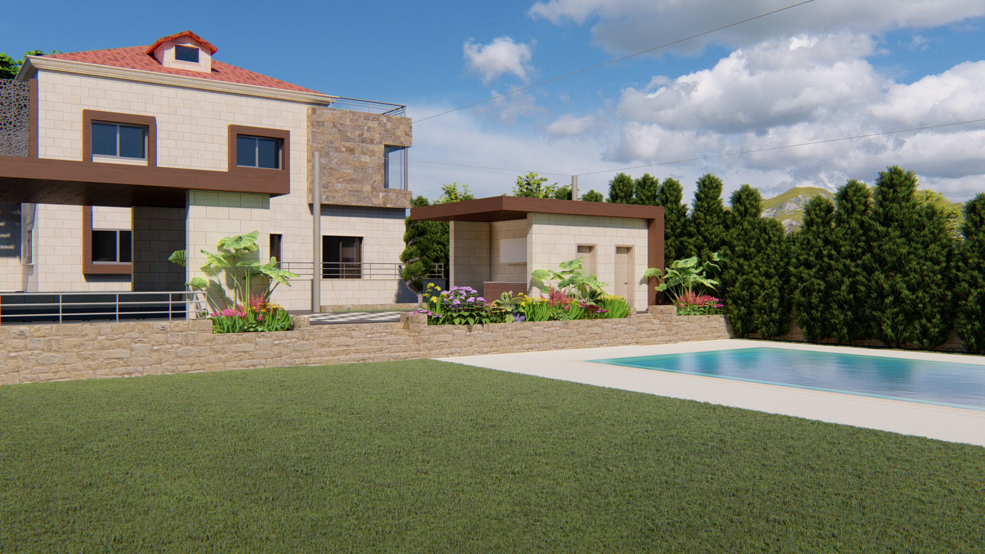 Touairi 78 projects Located in Touairi Village, South Lebanon, is a pool & garden design project with all related mechanical, electrical, structural and architectural tasks.